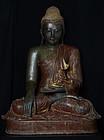 Early 19th C., Early Mandalay, Large Burmese Bronze Seated Buddha
