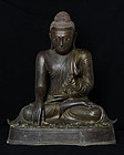 19th C., Mandalay, Large Burmese Bronze Seated Buddha
