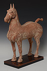 Han Dynasty, Chinese Painted Pottery Standing Horse