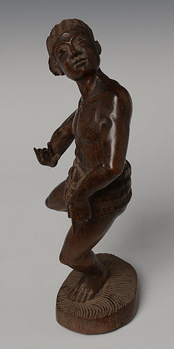 20th C., Burmese Wooden Figure Playing Bamboo Ball