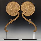 A Pair of Burmese Wooden Fans with Gilded Gold and Glasses Decoration