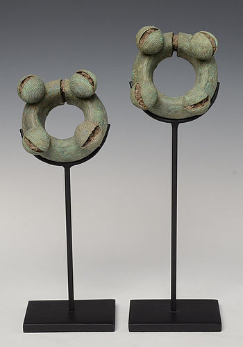 500 B.C., A Pair of Dong Son Bronze Bangles with Bells