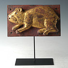 19th C., Mandalay, Burmese Wooden Panel with Rat Design