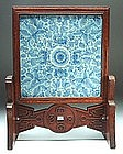 Qing Blue and White Rectangular Table Screen