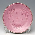 A Qing Pink Porcelain Plate