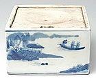 A Chinese Underglaze Blue Porcelain Inkstone