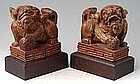 A Pair of Fu Dogs wood carving