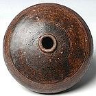 Khmer Honey Pot Brown-glazed w/ Plain Decoration