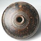Khmer Brown Glazed Honey Pot w/ Carved Decoration