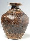 Khmer Brown Glazed Bottle Vase with Short Neck
