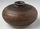 Khmer Brown Glaze Honey Pot w/ Carved Decoration