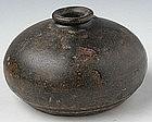 Khmer Brown Glaze Honey Pot w/ Plain Decoration