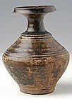 Khmer Brown Glazed Bottle Vase w/ Plain Decoration