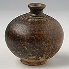 Khmer Brown Glazed Bottle Vase w/ Globular Body