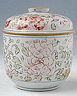 Small Chinese Minyao Covered Jarlet w/ Overglaze Colors