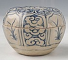 Vietnamese Blue and White Molded Covered Box
