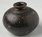 Khmer Brown Glazed Bottle Jarlet w/ Globular Body