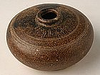 Khmer Brown-Glazed Honey Pot w/ Carved Decoration