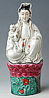 A Polychrome Porcelain Model of Guanyin (Kuan Yin)