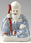 Porcelain Blue and White Model of the God of Longevity