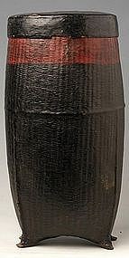 Burmese Woven Lacquered Rice Covered Basket