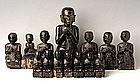 A Rare Set of 14 Burmese Black Lacquer Disciples Part 1
