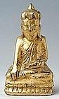 19th Century, Mandalay, Burmese Painted Wooden Buddha