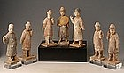 Ming Dynasty, Chinese Painted Pottery Court Men