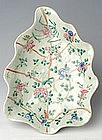 Chinese Export Polychrome ribbed Leaf Dish