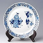Qing Chinese Blue and White Plate with Figures
