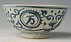 Chinese Qing Blue and White Bowl with Shou Character