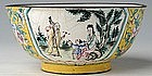 Chinese Painted Enamel Yellow Bowl, Huafalang