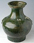 Han Dynasty Small Pottery Green Glazed Hu Jar
