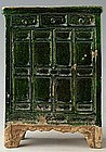 Ming Dynasty, Chinese Green Glazed Pottery Cabinet