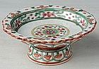 Thai Benjarong Stem Dish with Stylized Flower Design