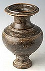12th Century, Khmer Pottery Brown Glazed Vase