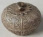 A pumpkin-shaped Silver Betel Nut Box