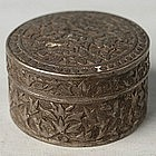 A Round Silver Betel Nut Box