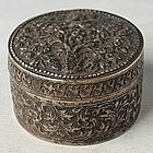 A Thai Round Silver Betel Nut Box