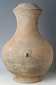 Han Dynasty, Large Chinese Pottery Hu Jar