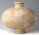 Han Dynasty, Large Chinese Pottery Cocoon Jar