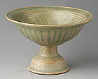 Sukhothai Celadon Stem Plate with Lotus Design