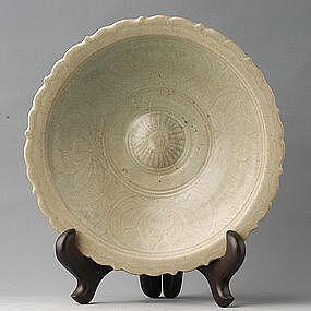 Sukhothai Celadon Foliated Dish with Lotus Design