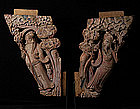 19th C., Chinese Wooden Immortals Carved on Both Sides