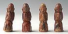 19th C., Rare Miniature Burmese Pottery Disciples