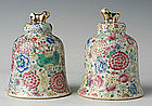 A Pair of Chinese Polychrome Porcelain Bells
