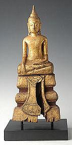 19th Century, Thai Wooden Sitting Buddha