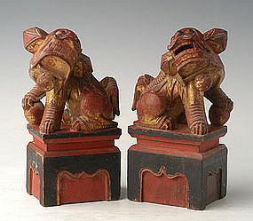 Qing Dynasty, A Pair of Chinese Wooden Lions