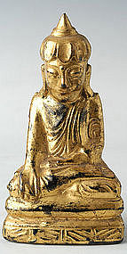 Burmese Painted Solid Lacquered Lotus Buddha