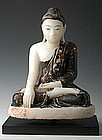 19th Century, Burmese Alabaster Sitting Buddha